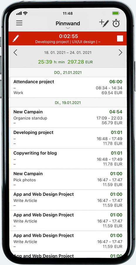 Time Tracking mobile App Beispiel